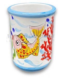 Bicchiere porta spazzolini da denti in ceramica vietrese Decoro Fondo Mare