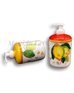 Dosatore sapone mani in ceramica vietrese DECORO LIMONE COSTIERA NEW