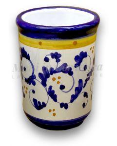Bicchiere porta spazzolini in ceramica di Vietri Barocchetto