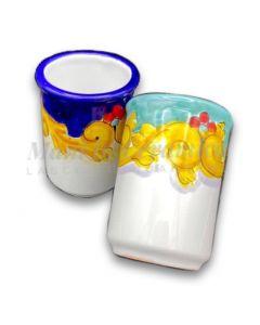 Bicchiere porta spazzolini in ceramica di Vietri Barocco