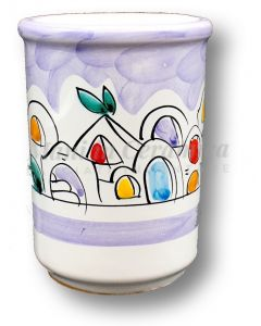 Bicchiere porta spazzolini in ceramica di Vietri Decoro Naif
