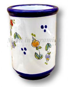 Bicchiere porta spazzolini in ceramica di Vietri Decoro Campanelle