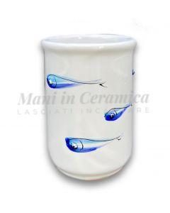 Bicchiere porta spazzolini in ceramica di Vietri Linea Mare