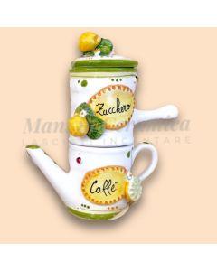 Caffettiera Napoletana in ceramica di Vietri linea Limoni