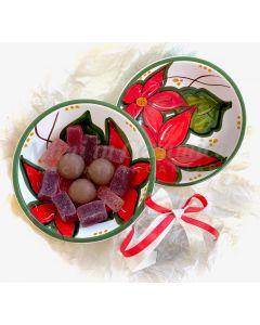 Coppetta Natale decoro stella di Natale in ceramica di Vietri
