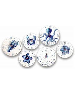 Orologio a disco in ceramica di Vietri Linea Mare