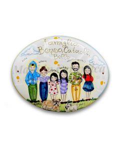 Targa fuori porta Famiglia in ceramica di Vietri