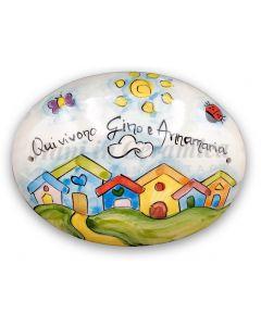 Targa fuori porta Casette in ceramica di Vietri