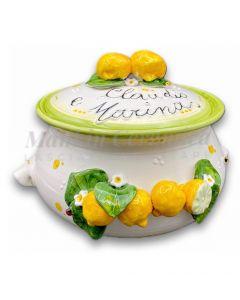 Biscottiera svasata in ceramica di Vietri Linea limoni