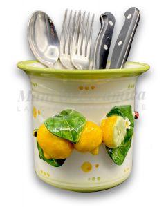 Bicchierone porta posate in ceramica di Vietri Linea Limoni