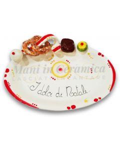 Ovalina Natale per dolci in ceramica di Vietri
