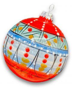 Pallina Natale decoro geometrico in ceramica di Vietri