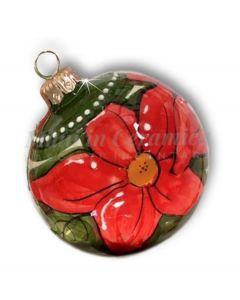 Pallina Natale decoro stella di Natale in ceramica di Vietri