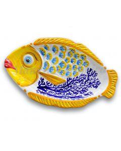 Piatto pesce con squame in ceramica di Vietri