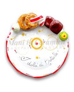 Piatto smerlato Natale per dolci in ceramica di Vietri
