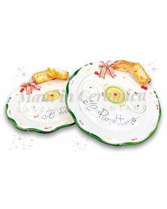 Piatto smerlato Natale per panettone in ceramica di Vietri