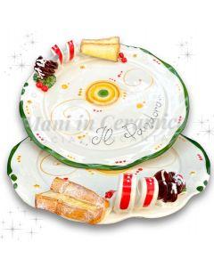Piatto smerlato per pandoro in ceramica di Vietri