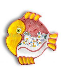Piatto Pesce Rotondo in ceramica vietrese DECORO NAIF