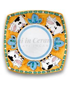 Piatto Sushi in ceramica vietrese DECORO MUCCA NEW