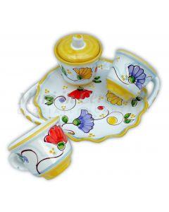 Servizio caffè per due con zuccheriera in ceramica di Vietri