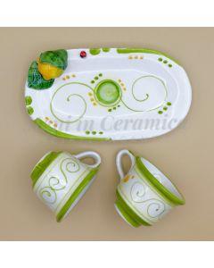 Servizio caffè per 2 in ceramica di Vietri Linea Limoni