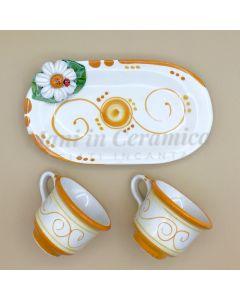 Servizio caffè per 2 in ceramica di Vietri Linea Margherite