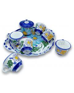 Servizio caffè per 6 con zuccheriera in ceramica di Vietri