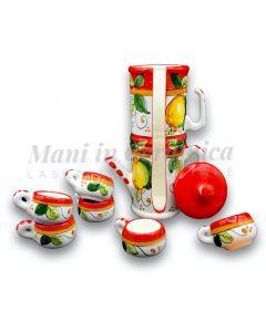 Servizio caffè  per 6 in Napoletana in ceramica di Vietri