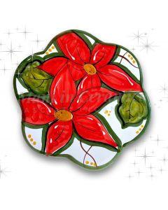 Sottopentola Natale decoro stella di Natale in ceramica di Vietri
