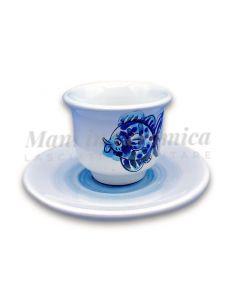 Tazzina caffè con piattino in ceramica di Vietri Linea Mare