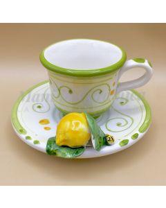 Tazzina caffè con piattino in ceramica di Vietri Linea Limoni