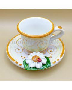 Tazzina con piattino da caffè in ceramica di Vietri Linea Margherite