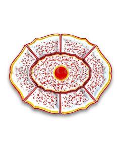 Antipastiera 7 pezzi in Ceramica Vietrese DECORO BAROCCHETTO