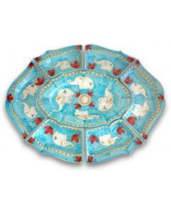 Antipastiera 7 pezzi in ceramica vietrese DECORO ELEFANTE NEW