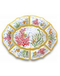 Antipastiera 7 pezzi in ceramica vietrese DECORO FONDO MARE