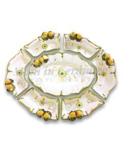 Antipastiera 7 pezzi in ceramica vietrese Linea Limoni