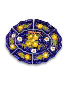 Antipastiera 7 pezzi in ceramica vietrese DECORO LIMONE VIETRI
