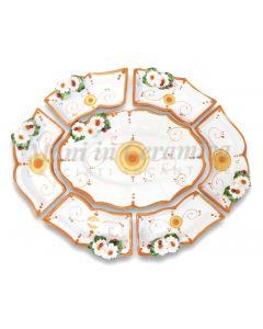 Antipastiera in ceramica di Vietri 7 pezzi Linea Margherite