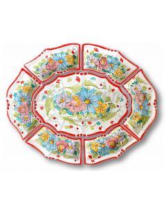 Antipastiera 7 pezzi in ceramica vietrese DECORO VIETRI ANTICO