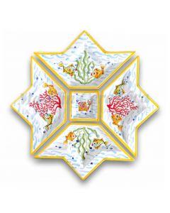 Antipastiera a Stella in Ceramica Vietrese DECORO FONDO MARE