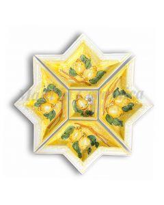 Antipastiera a Stella in Ceramica Vietrese DECORO LIMONE VIETRI