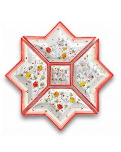 Antipastiera a Stella in Ceramica Vietrese DECORO PRIMULA NEW
