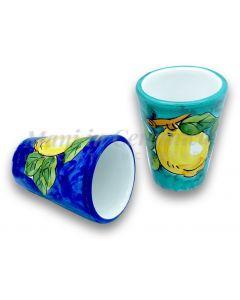 Bicchierino Liquore in Ceramica Vietrese DECORO LIMONE VIETRI