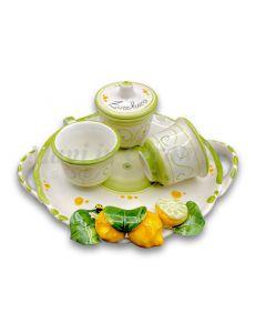 Servizio caffè per 2 con zuccheriera in ceramica di Vietri Linea Limoni