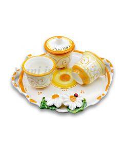 Servizio caffè per 2 con zuccheriera in ceramica di Vietri Linea Margherite