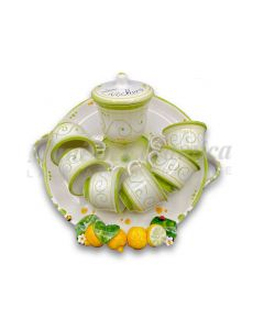 Servizio caffè per 6 con zuccheriera in ceramica di Vietri Linea Limoni