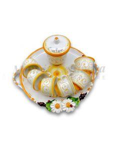 Servizio caffè per 6 con zuccheriera in ceramica di Vietri Linea Margherite
